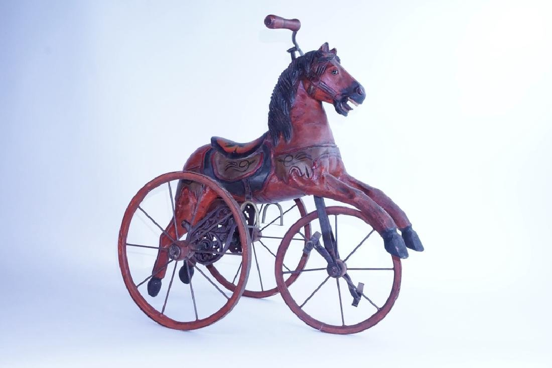 HAND CARVED WOODEN HORSE TRICYCLE - 4