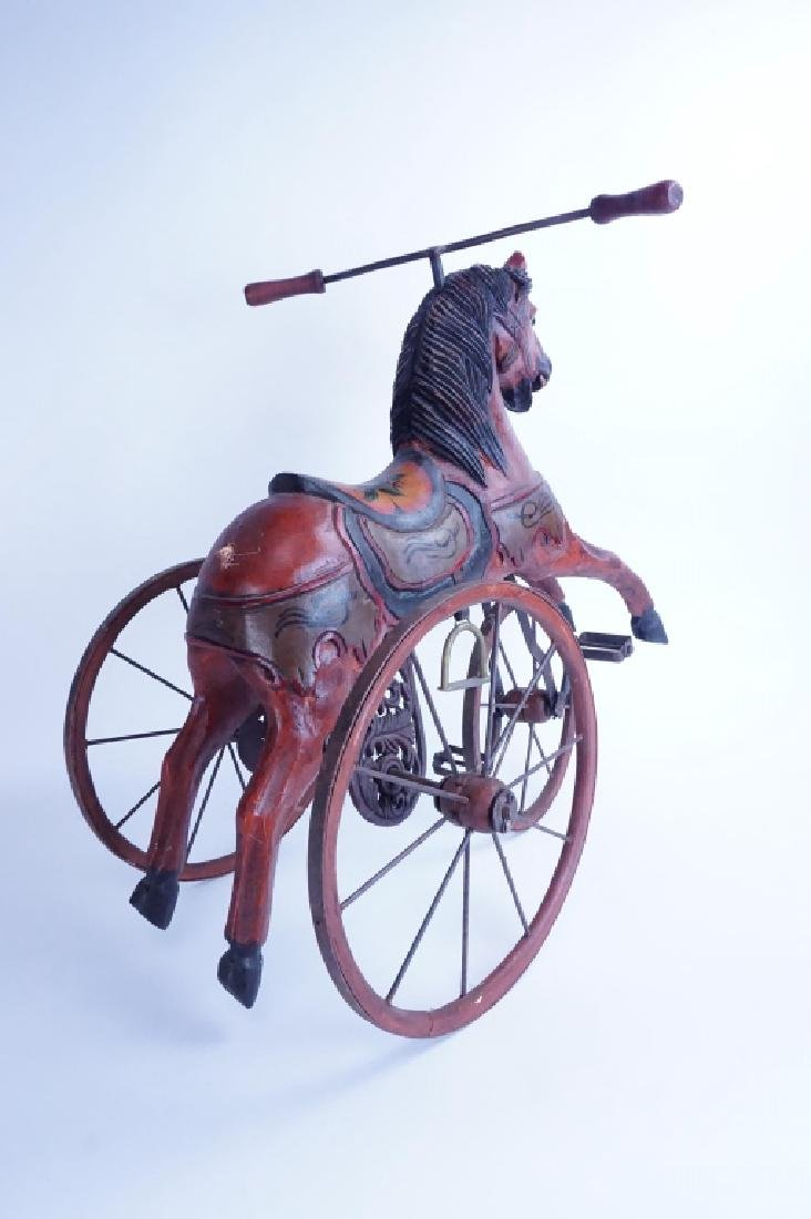 HAND CARVED WOODEN HORSE TRICYCLE - 5