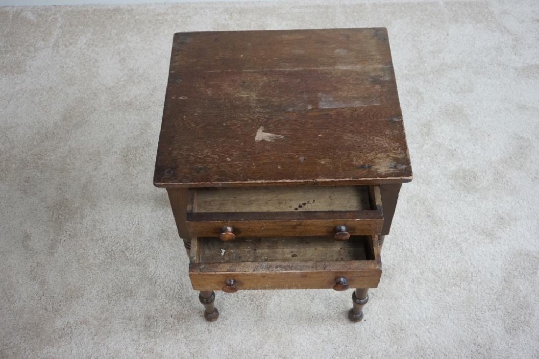 ANTIQUE WOODEN 2-DRAWER STAND - 3