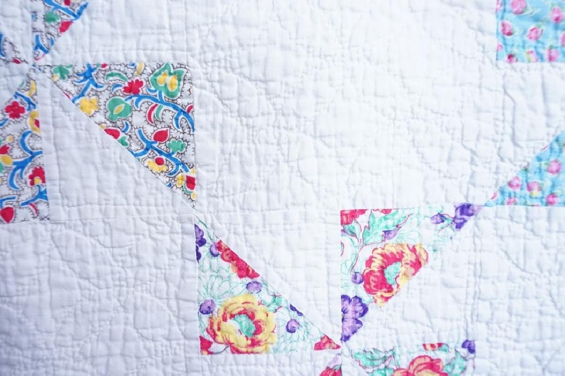 PAIR VINTAGE HAND STITCHED PINWHEEL QUILTS - 2