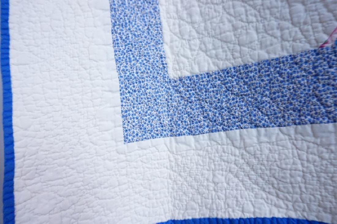 PAIR VINTAGE HAND STITCHED PINWHEEL QUILTS - 3