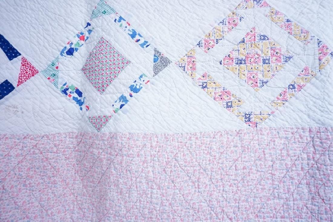 PAIR VINTAGE HAND STITCHED PINWHEEL QUILTS - 6