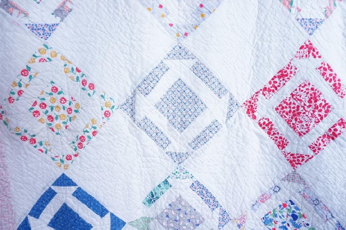 PAIR VINTAGE HAND STITCHED PINWHEEL QUILTS - 9