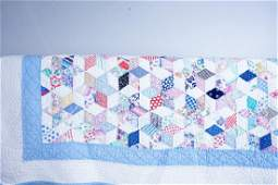 VINTAGE HAND STITCHED 6-POINTED STAR QUILT