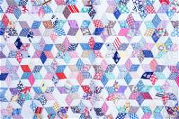 ANTIQUE HAND STITCHED 6-POINTED STAR QUILT