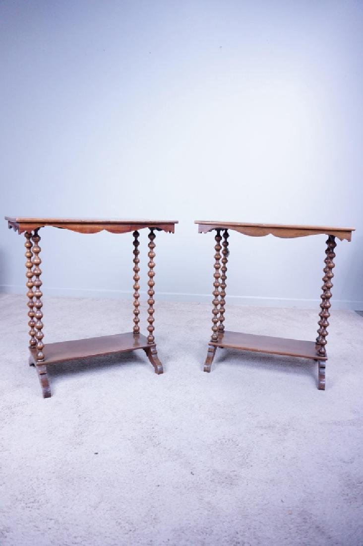 PAIR SPINDLE LEG SIDE TABLES