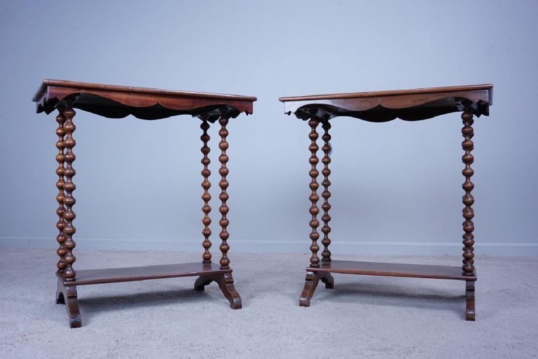 PAIR SPINDLE LEG SIDE TABLES - 2