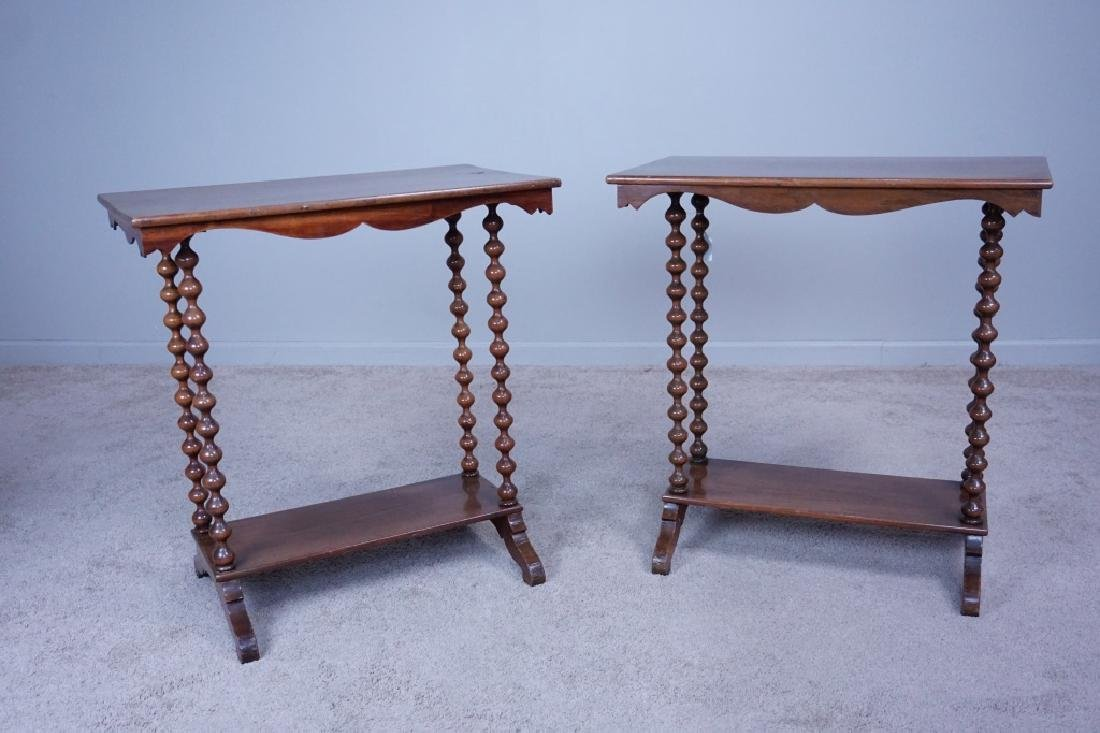 PAIR SPINDLE LEG SIDE TABLES - 3