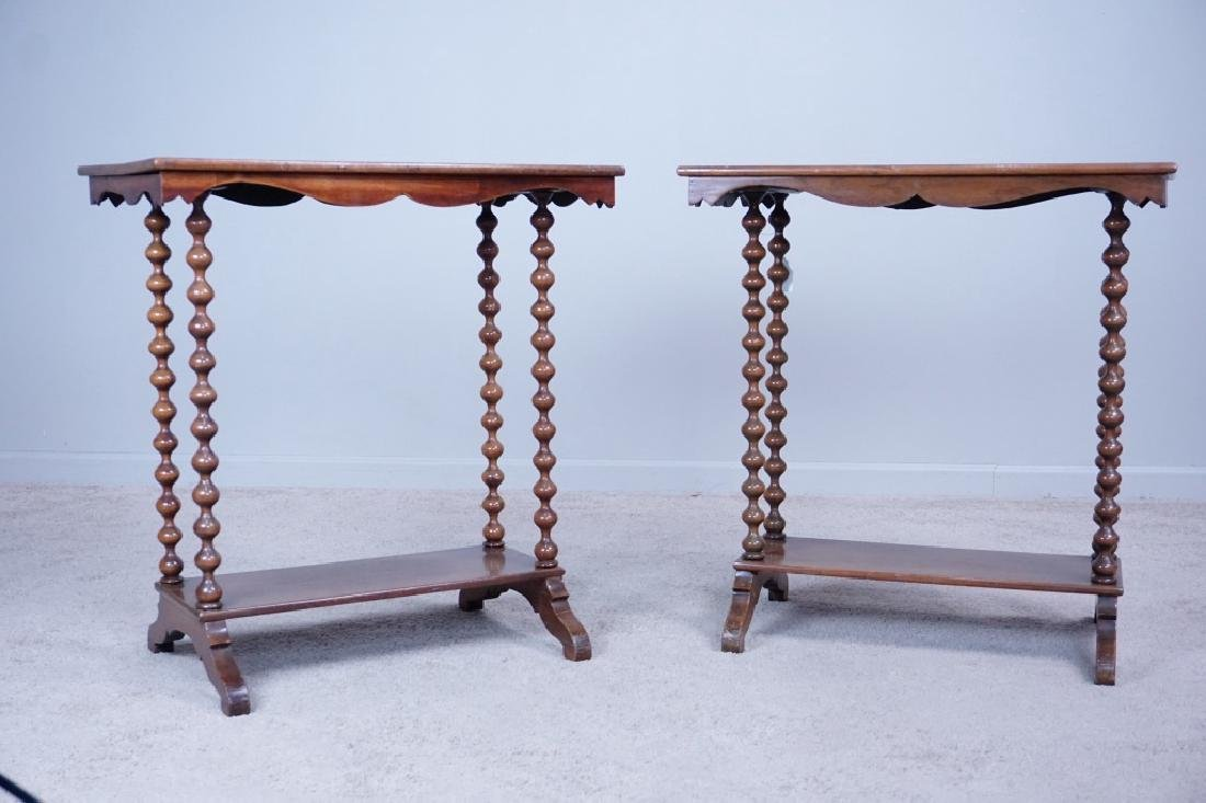 PAIR SPINDLE LEG SIDE TABLES - 4