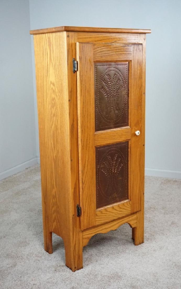 1-DOOR OAK PIE SAFE WITH COPPER PANELS
