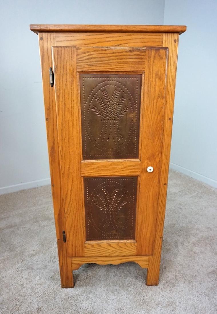 1-DOOR OAK PIE SAFE WITH COPPER PANELS - 2