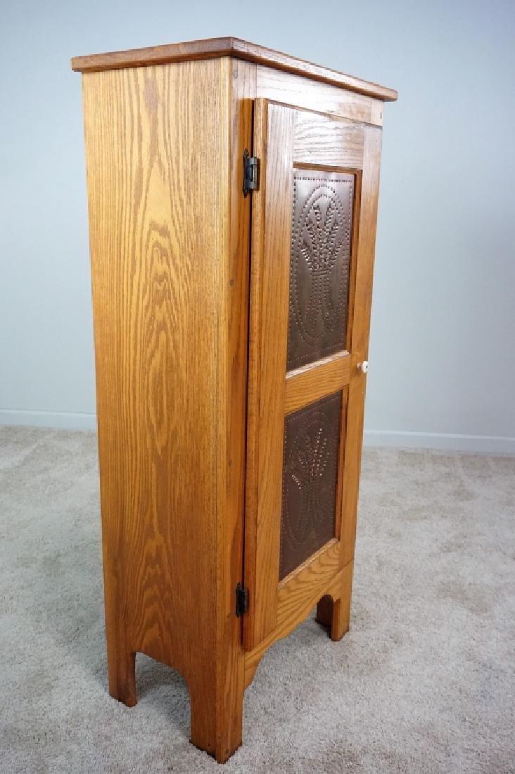 1-DOOR OAK PIE SAFE WITH COPPER PANELS - 4