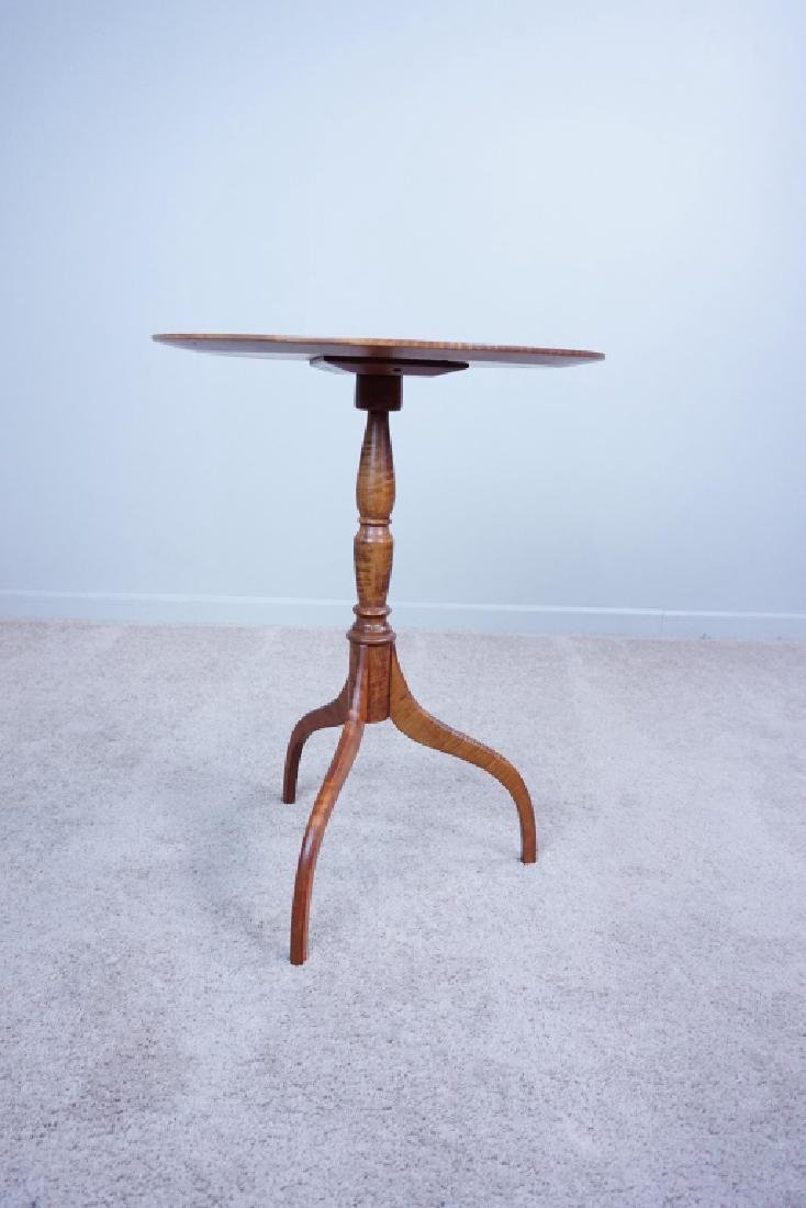 VINTAGE TIGER MAPLE CANDLE STAND WITH TRIPOD BASE - 4