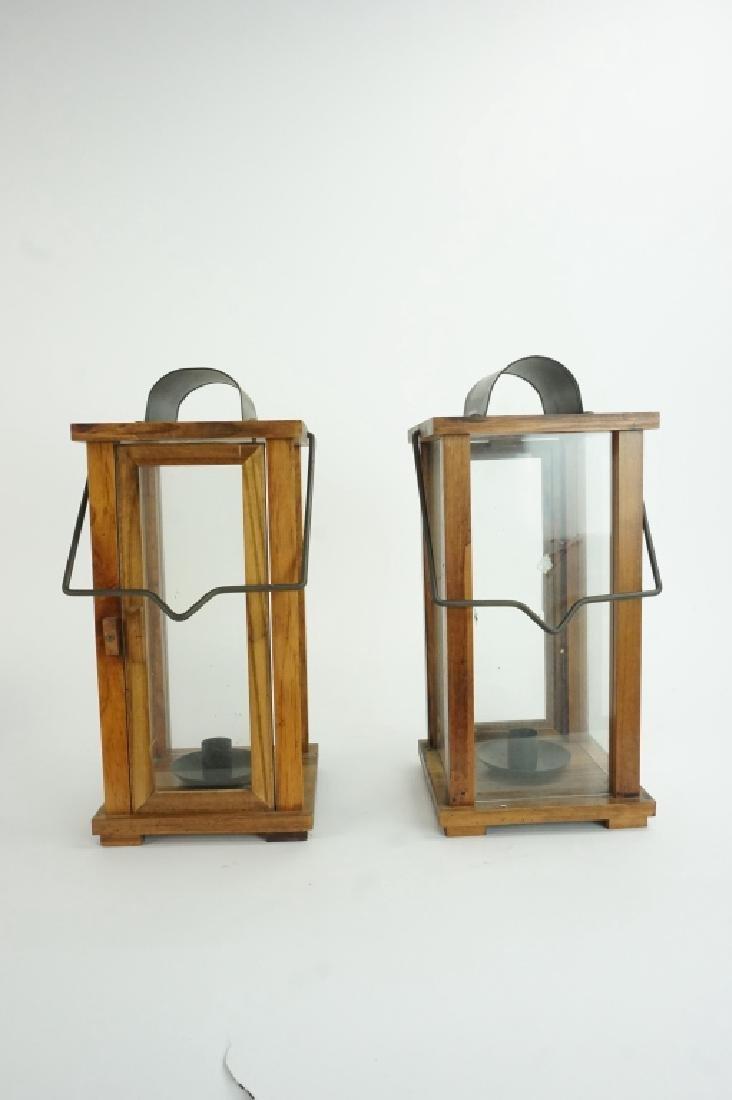 PAIR OF WOOD & GLASS LANTERNS