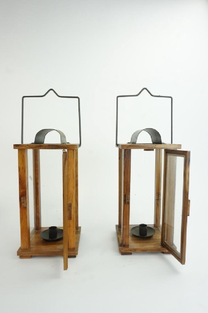 PAIR OF WOOD & GLASS LANTERNS - 2