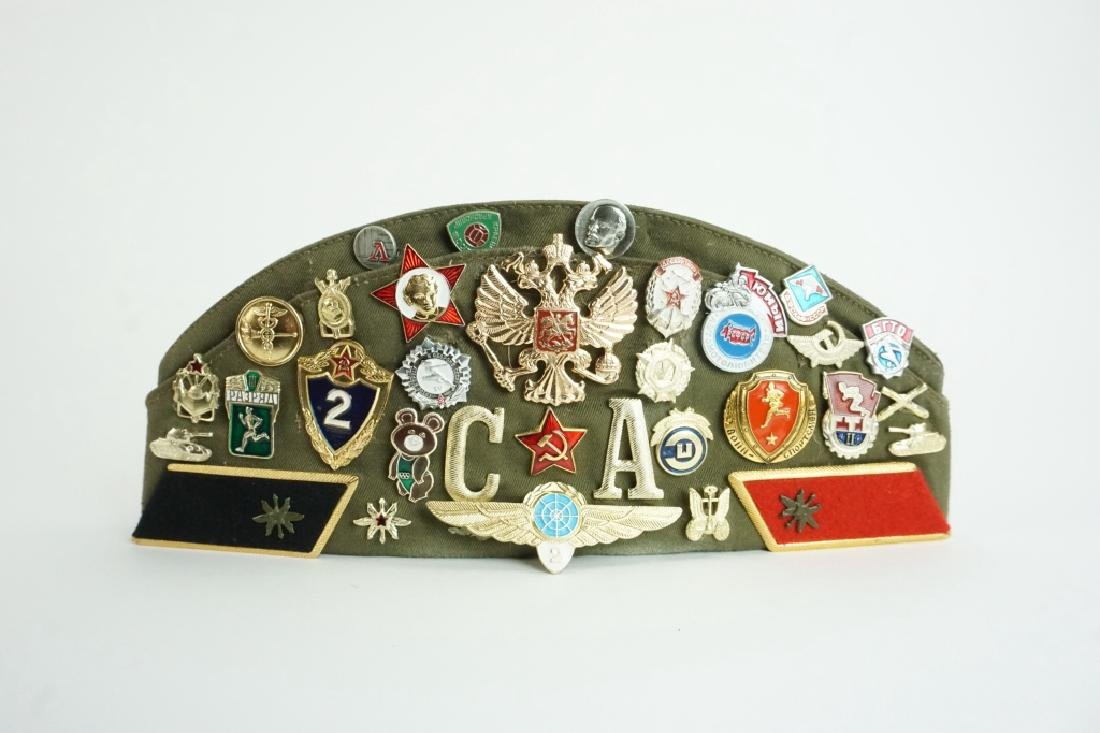 SOVIET GARRISON CAP WITH PINS & PATCHES