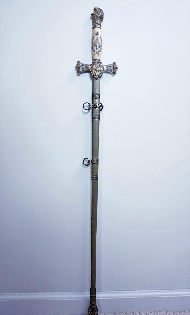 ANTIQUE 19TH C MOMENTO MORI KNIGHTS TEMPLAR SWORD