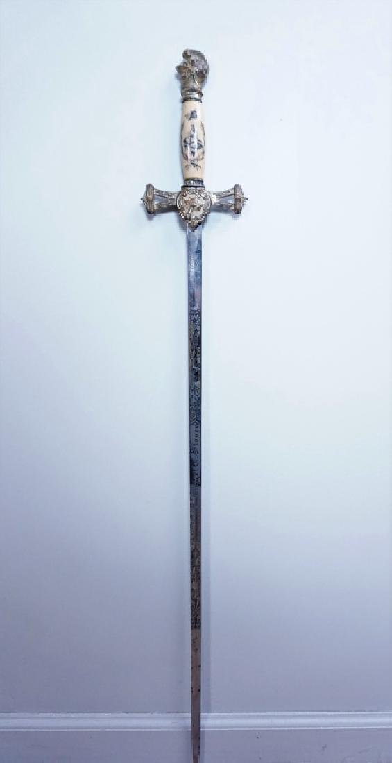 ANTIQUE 19TH C MOMENTO MORI KNIGHTS TEMPLAR SWORD - 3