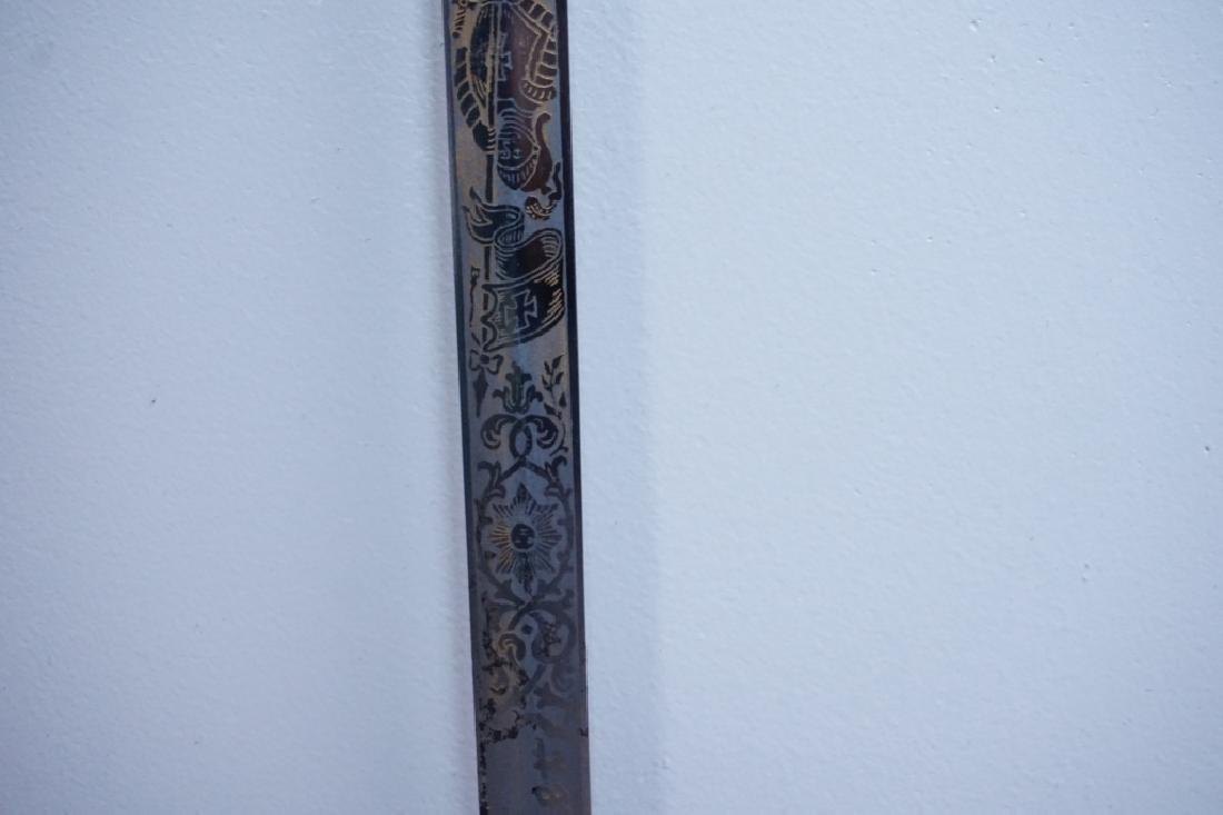 ANTIQUE 19TH C MOMENTO MORI KNIGHTS TEMPLAR SWORD - 4