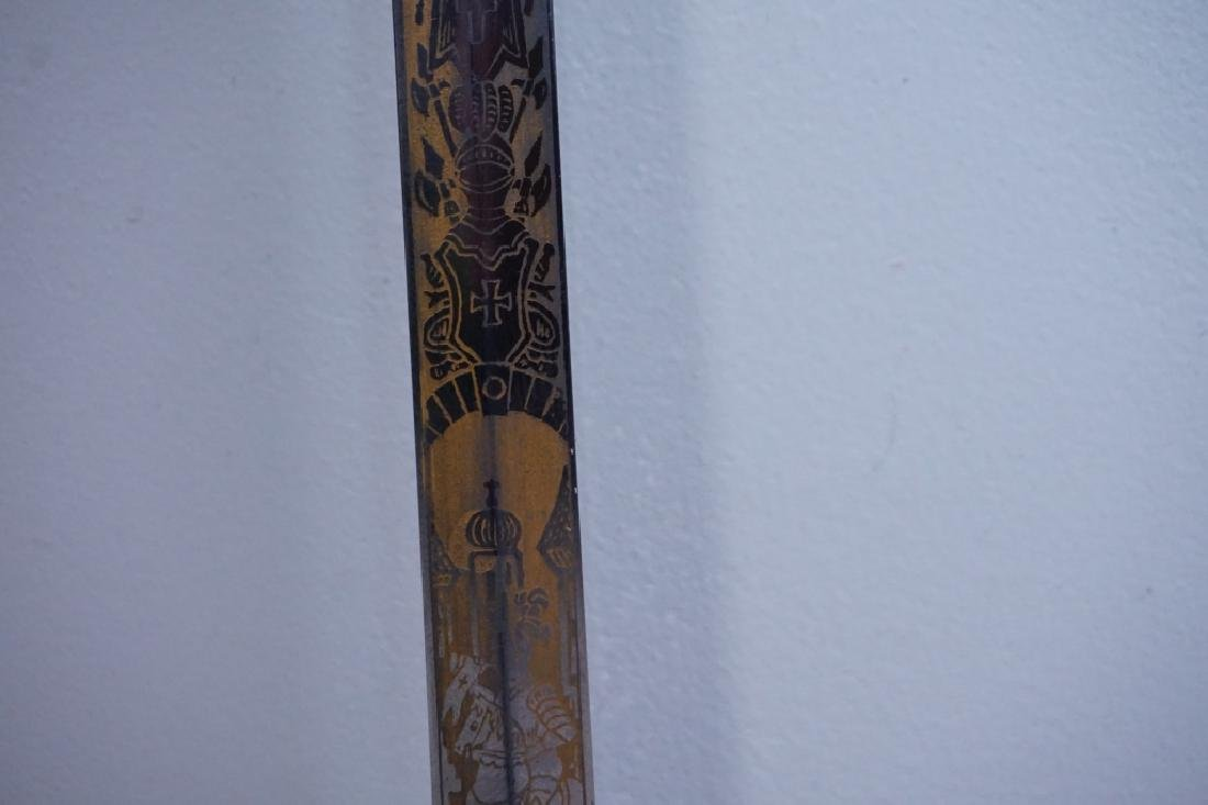 ANTIQUE 19TH C MOMENTO MORI KNIGHTS TEMPLAR SWORD - 6