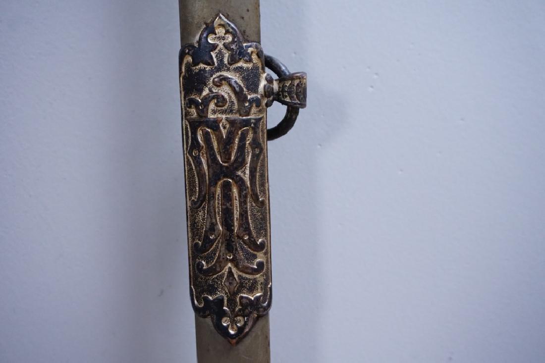 ANTIQUE 19TH C MOMENTO MORI KNIGHTS TEMPLAR SWORD - 7