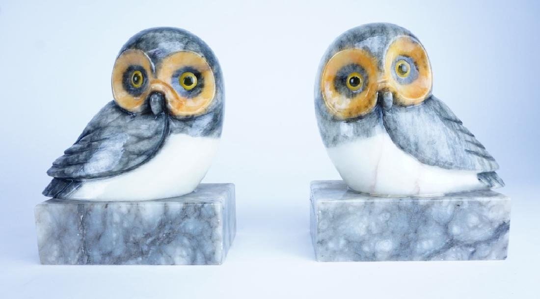 PAIR OF MARBLE OWL BOOKENDS