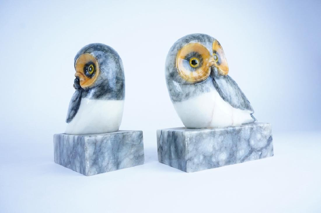 PAIR OF MARBLE OWL BOOKENDS - 2