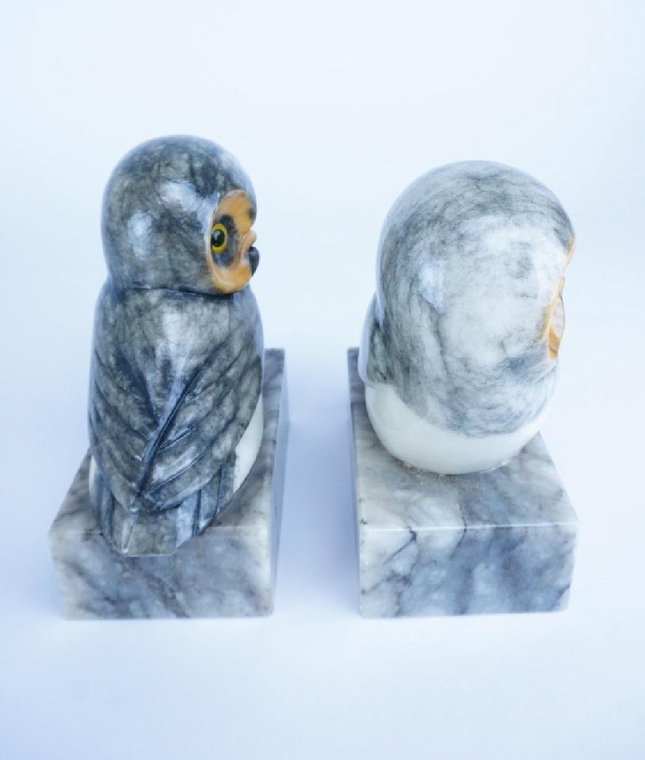 PAIR OF MARBLE OWL BOOKENDS - 3