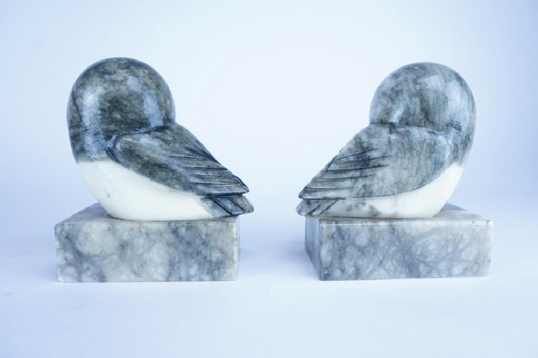 PAIR OF MARBLE OWL BOOKENDS - 4