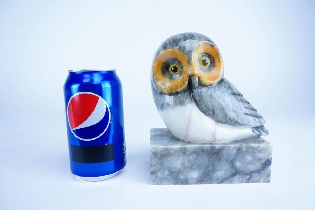 PAIR OF MARBLE OWL BOOKENDS - 5