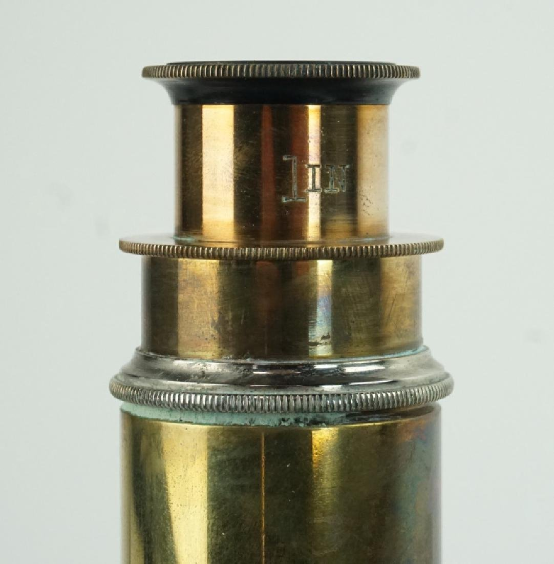 BRASS MICROSCOPE WITH CAST IRON BASE - 4