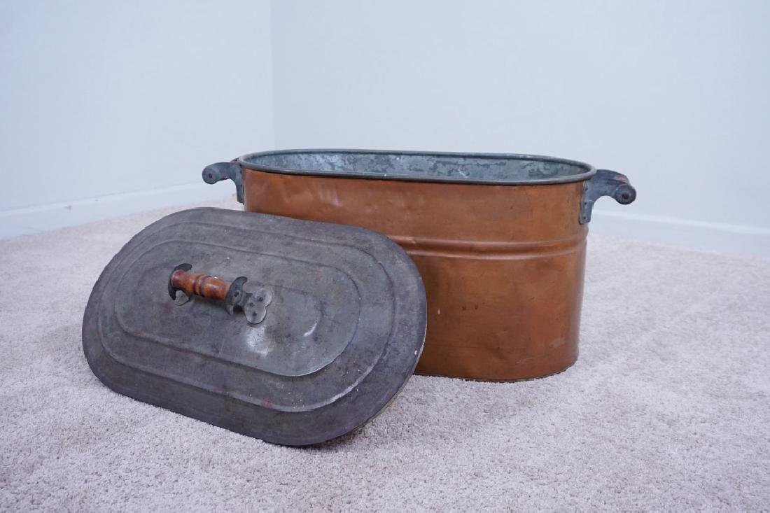 TIN LINED COPPER BOILER WITH LID - 2