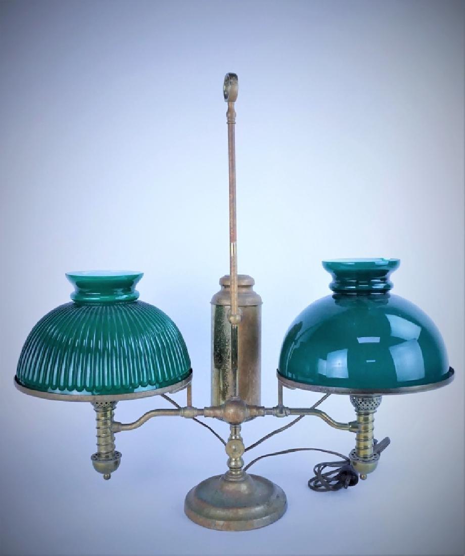 ANTIQUE MANHATTAN BRASS CO DOUBLE STUDENT LAMP