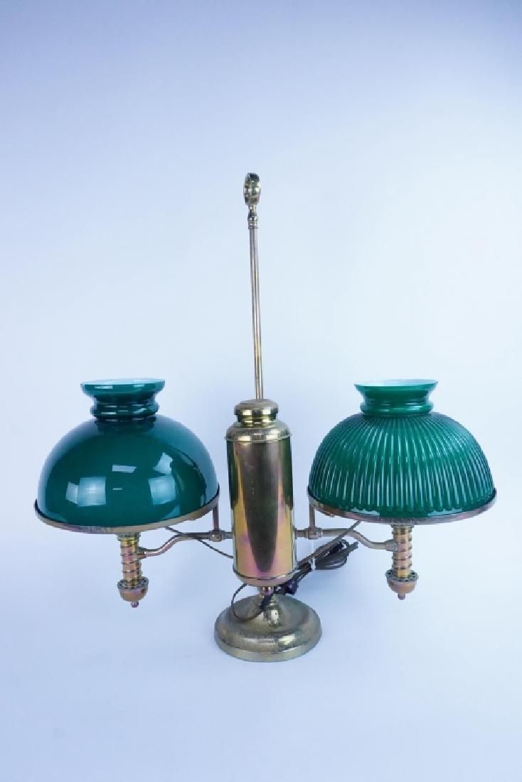 ANTIQUE MANHATTAN BRASS CO DOUBLE STUDENT LAMP - 2