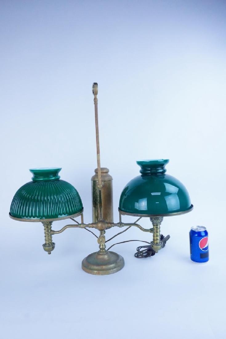 ANTIQUE MANHATTAN BRASS CO DOUBLE STUDENT LAMP - 3