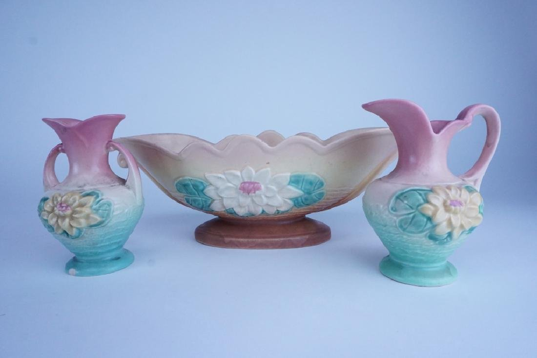 3pc HULL POTTERY WATER LILY SET