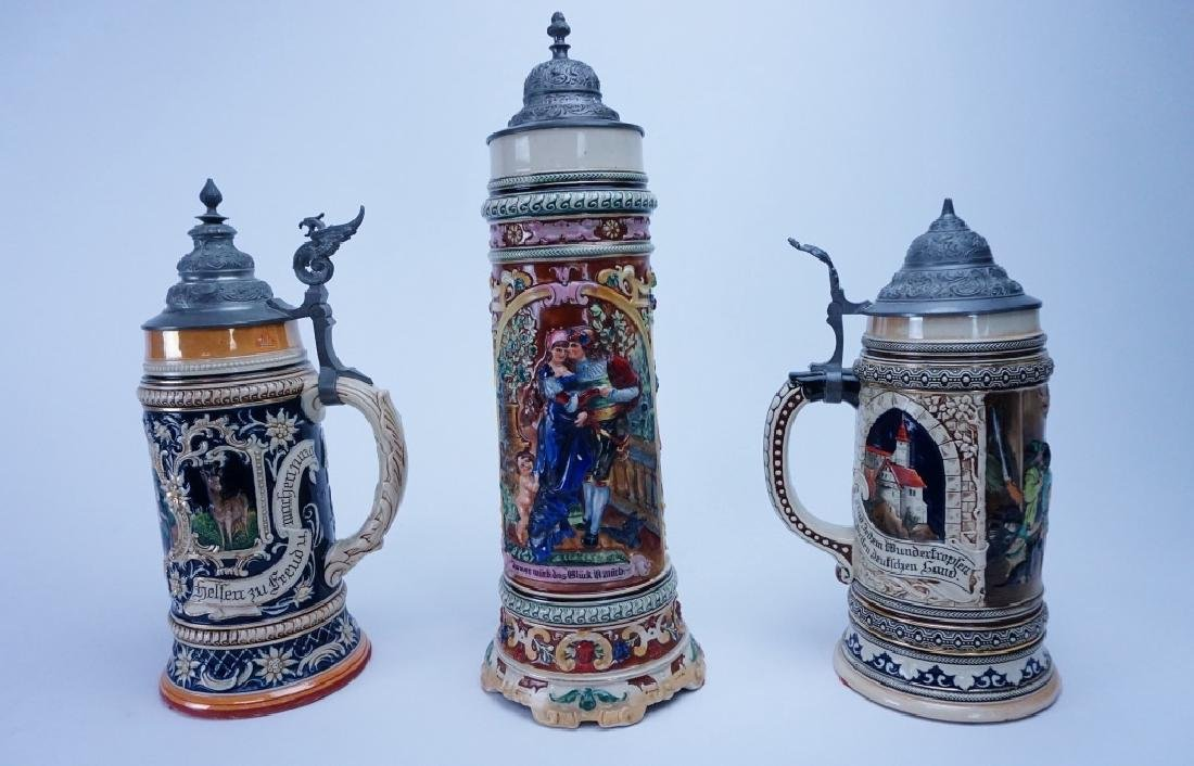 (3) GERMAN PORCELAIN BEER STEINS