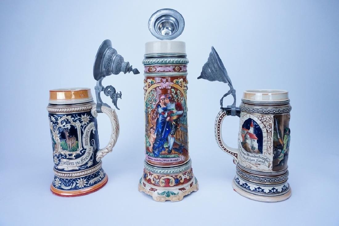 (3) GERMAN PORCELAIN BEER STEINS - 3