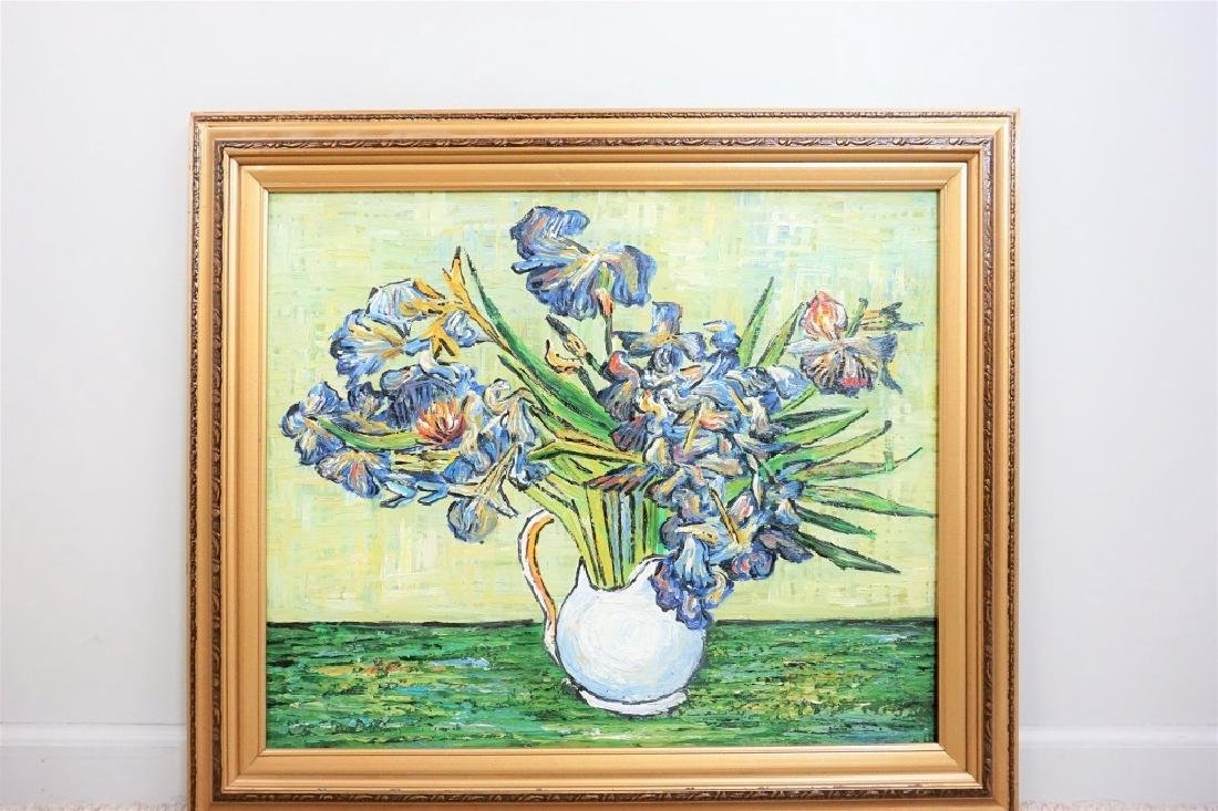 R THOMPSON(?) OIL ON CANVAS FLORAL PAINTING