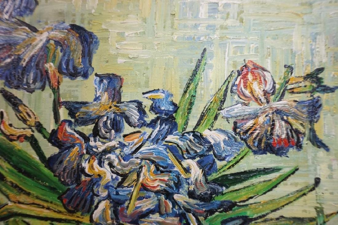 R THOMPSON(?) OIL ON CANVAS FLORAL PAINTING - 3