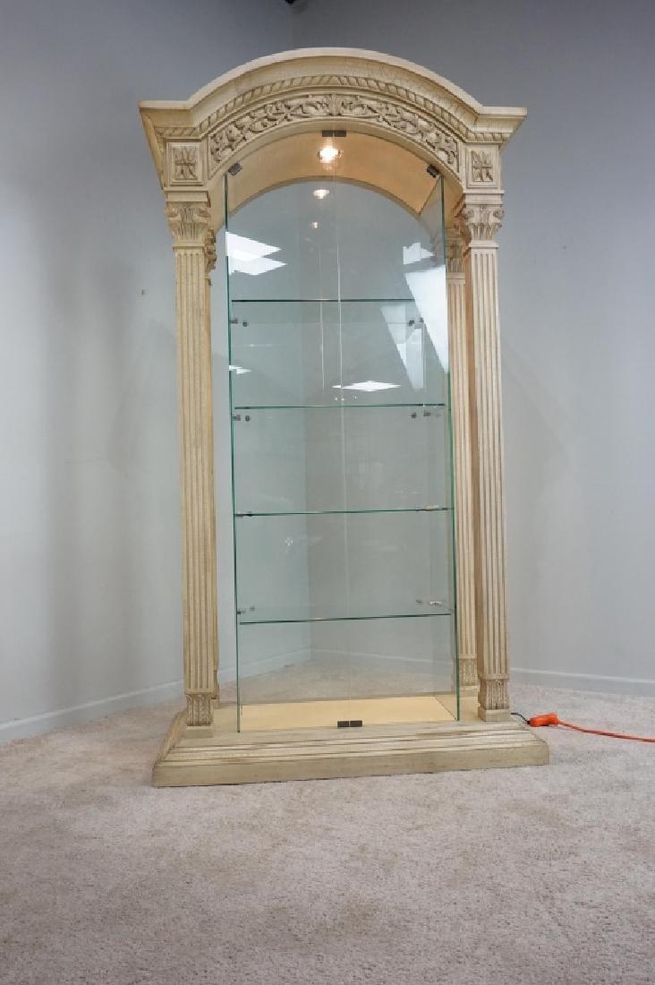 MODERN PILLAR AND GLASS CURIO CABINET - 10
