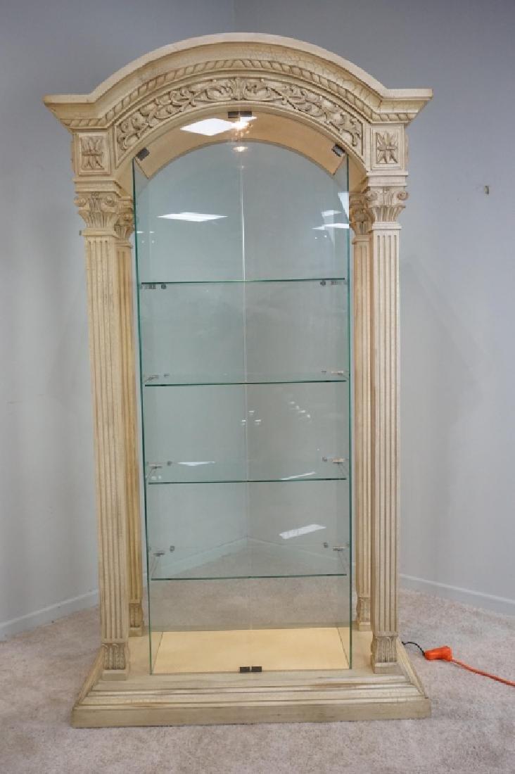MODERN PILLAR AND GLASS CURIO CABINET