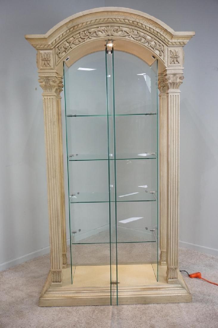 MODERN PILLAR AND GLASS CURIO CABINET - 3