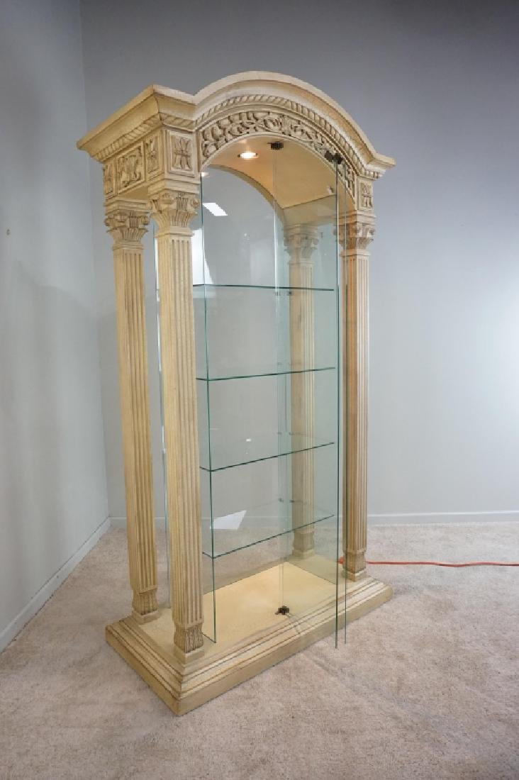 MODERN PILLAR AND GLASS CURIO CABINET - 4