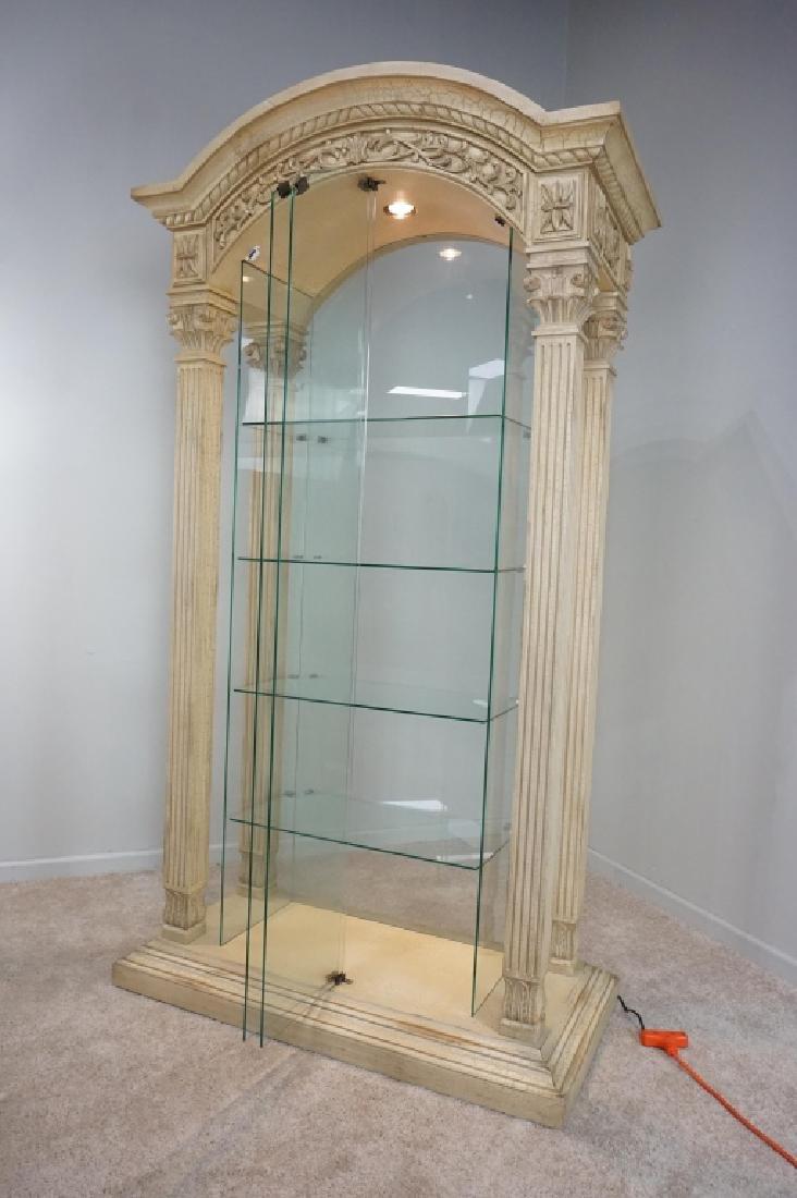 MODERN PILLAR AND GLASS CURIO CABINET - 5