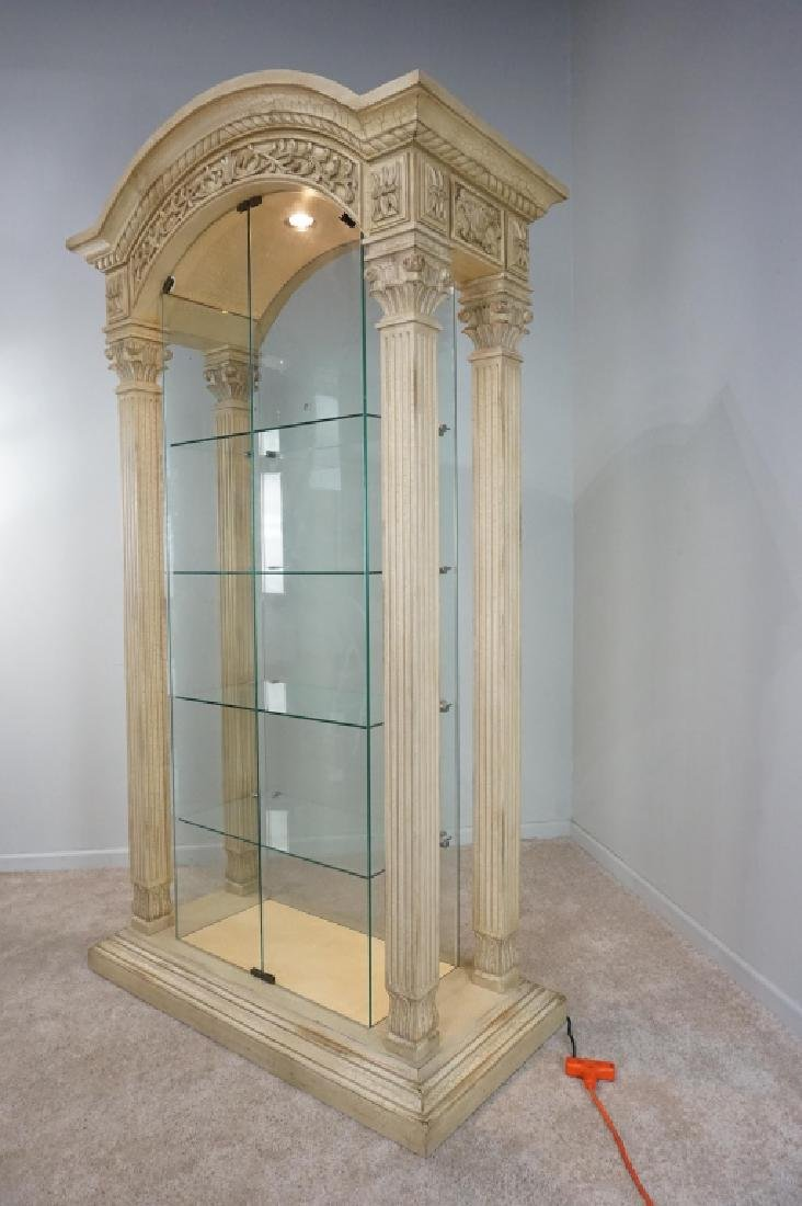 MODERN PILLAR AND GLASS CURIO CABINET - 9