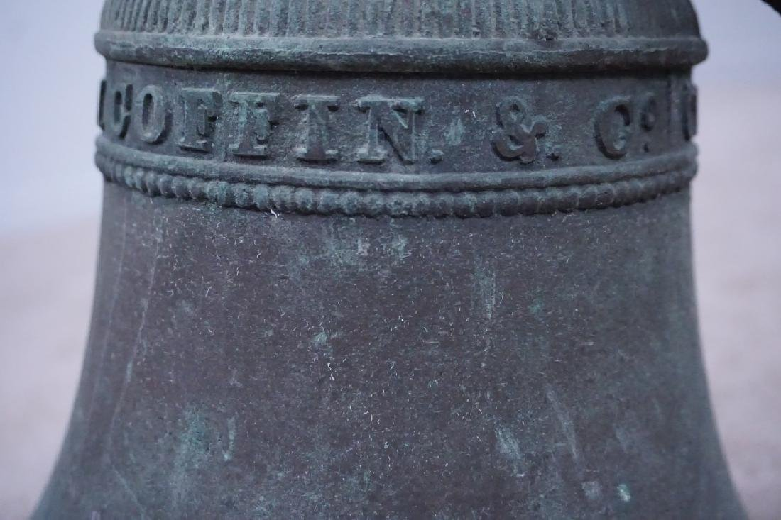 ANTIQUE GW COFFIN BRONZE BELL - 3