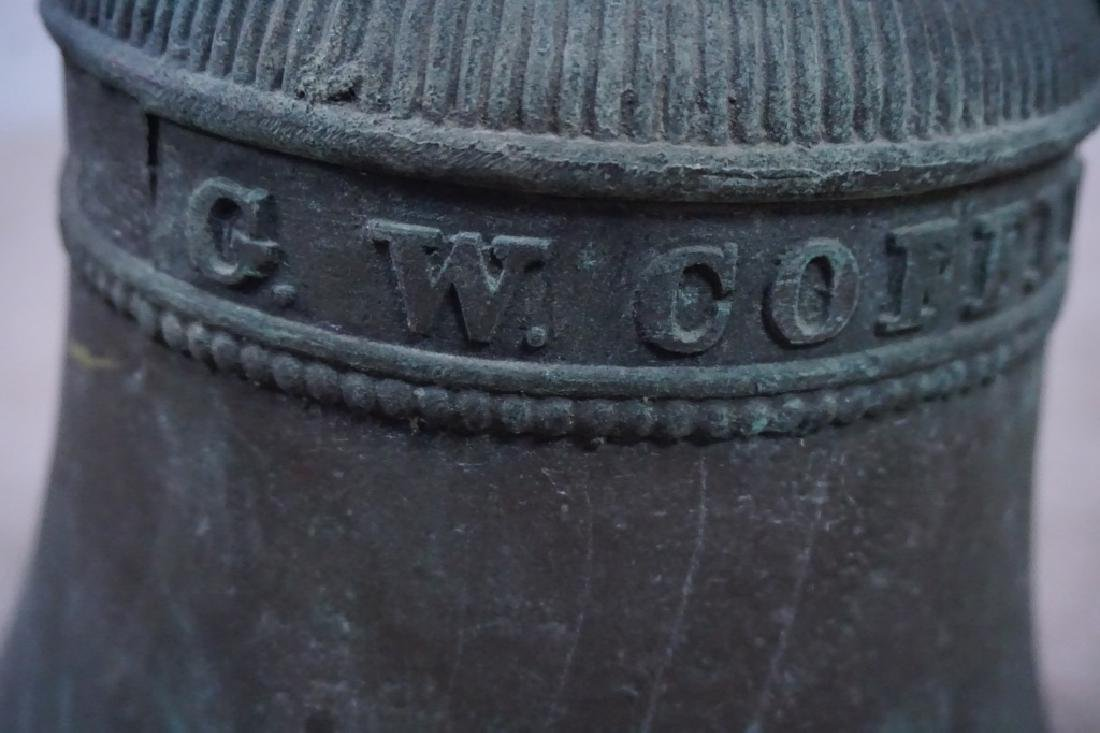 ANTIQUE GW COFFIN BRONZE BELL - 4