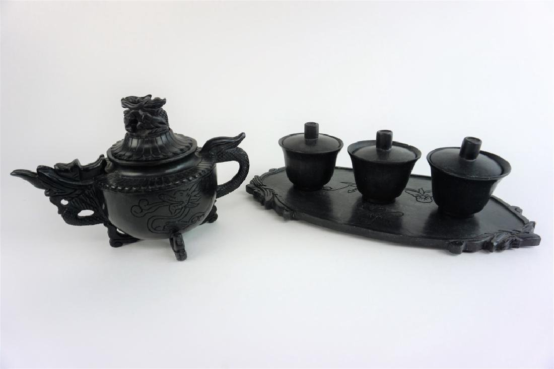 BLACK JADE TEAPOT SET - 10