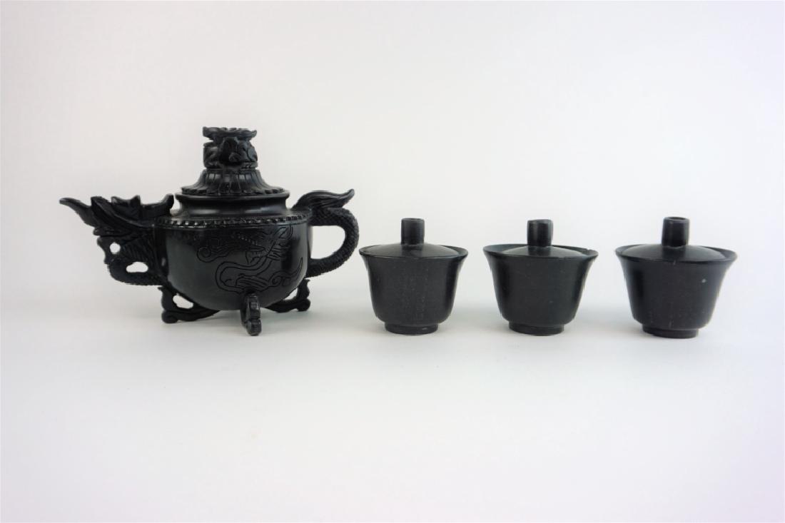 BLACK JADE TEAPOT SET - 6